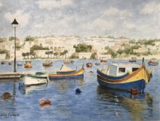 Marsaxlokk Boats And Lamppost
